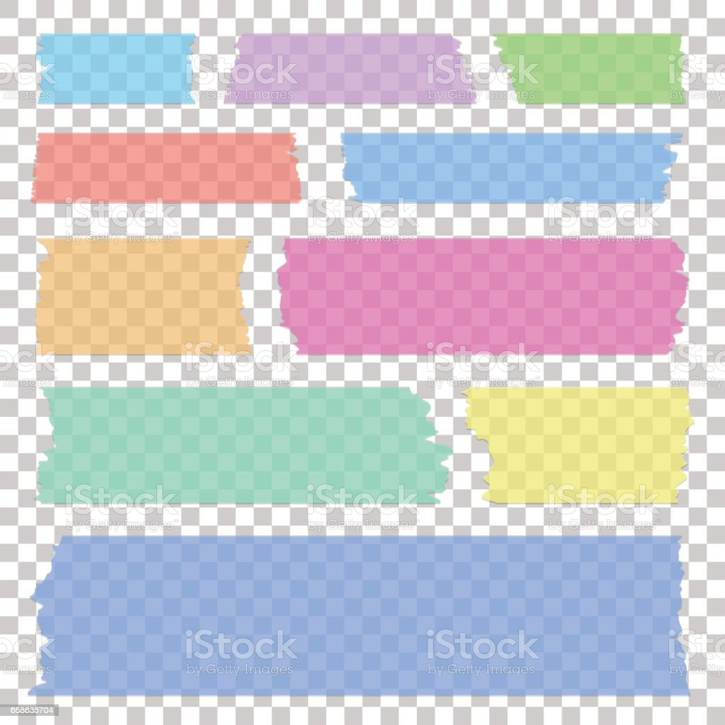 Set of transparent white sticky banners, realistic grey tape pieces, vector illustration. vector art illustration