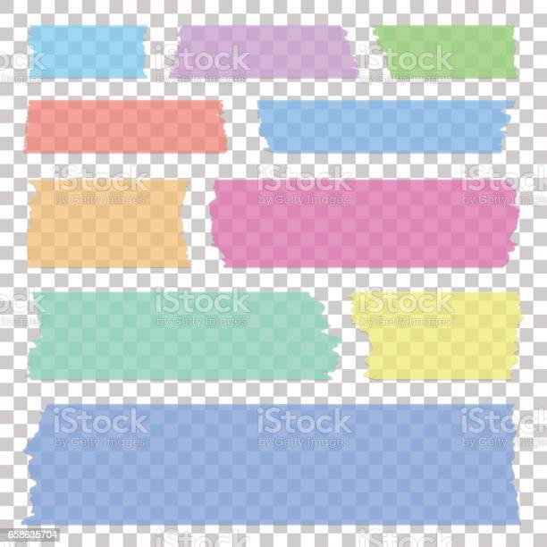 Set Of Transparent White Sticky Banners Realistic Grey Tape Pieces Vector Illustration - Arte vetorial de stock e mais imagens de Abstrato