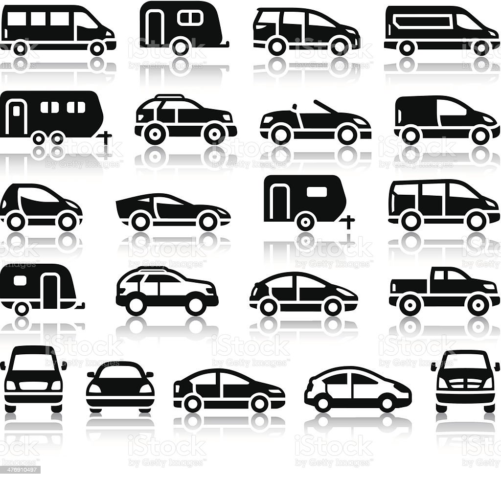 Set of transport black icons vector art illustration