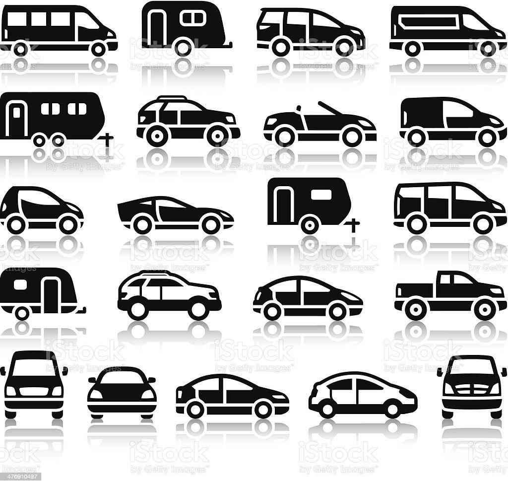 Set of transport black icons vector art illustration