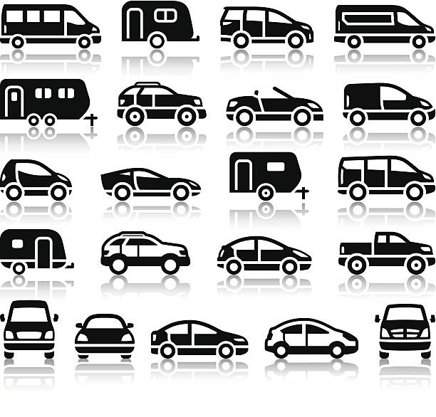 Set of transport black icons Set of transport black icons with reflection, vector illustrations mini van stock illustrations