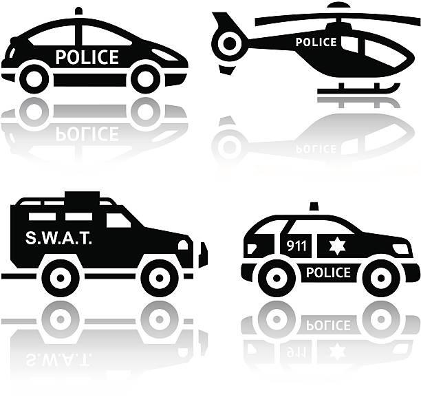 Set of transport icons - Police part 2 vector art illustration