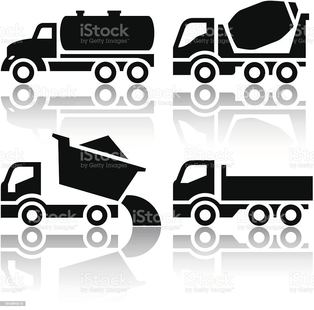 Set of transport icons - Tipper and Concrete mixer truck vector art illustration
