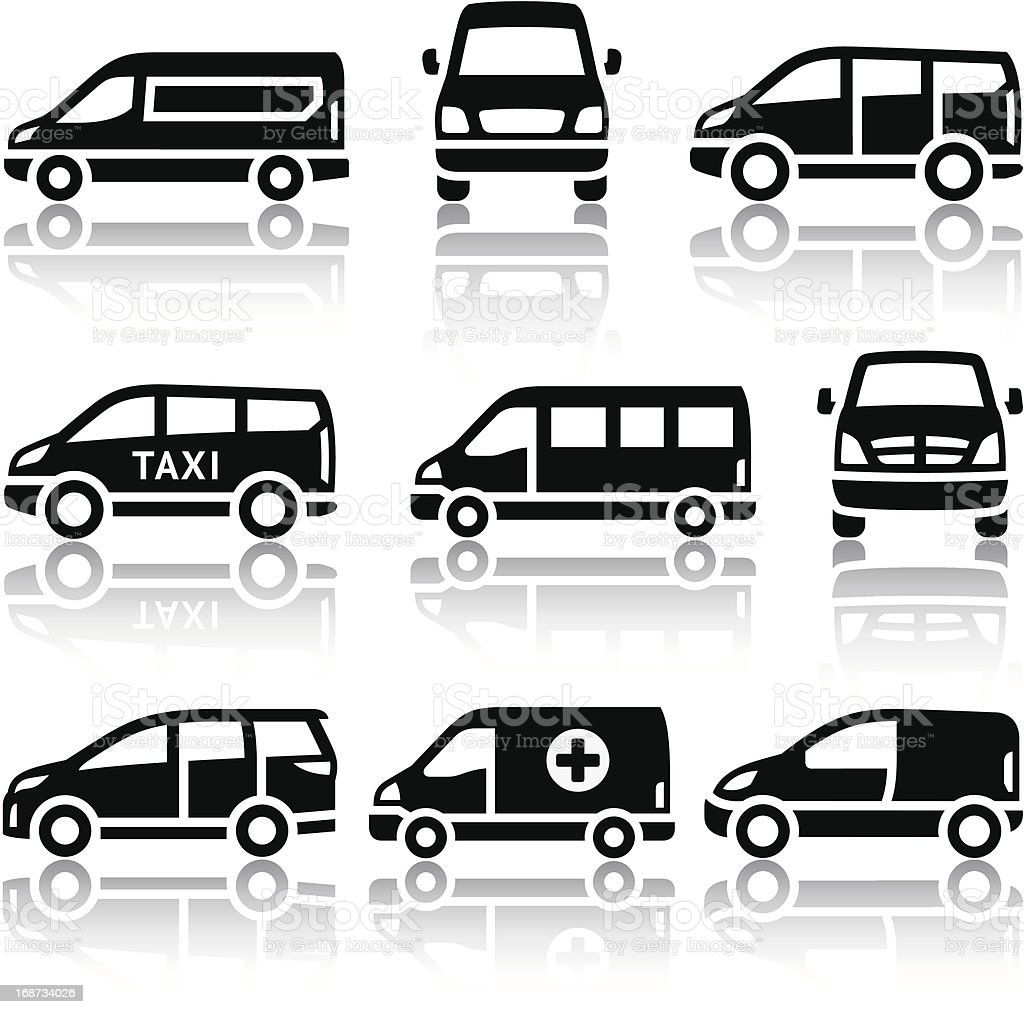 van clipart black and white. set of transport icons van vector art illustration clipart black and white