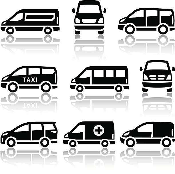 Set of transport icons - Van Transport icons - Van, vector illustrations, set silhouettes isolated on white background. mini van stock illustrations