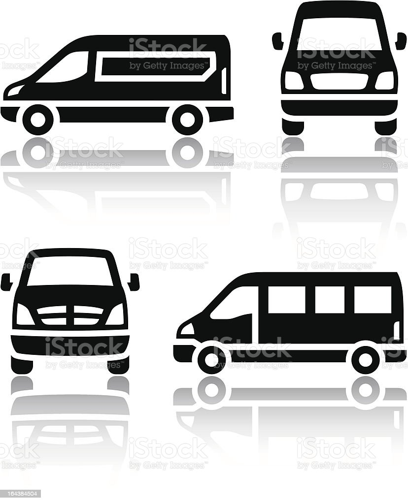 A set of transport related black and white icons vector art illustration