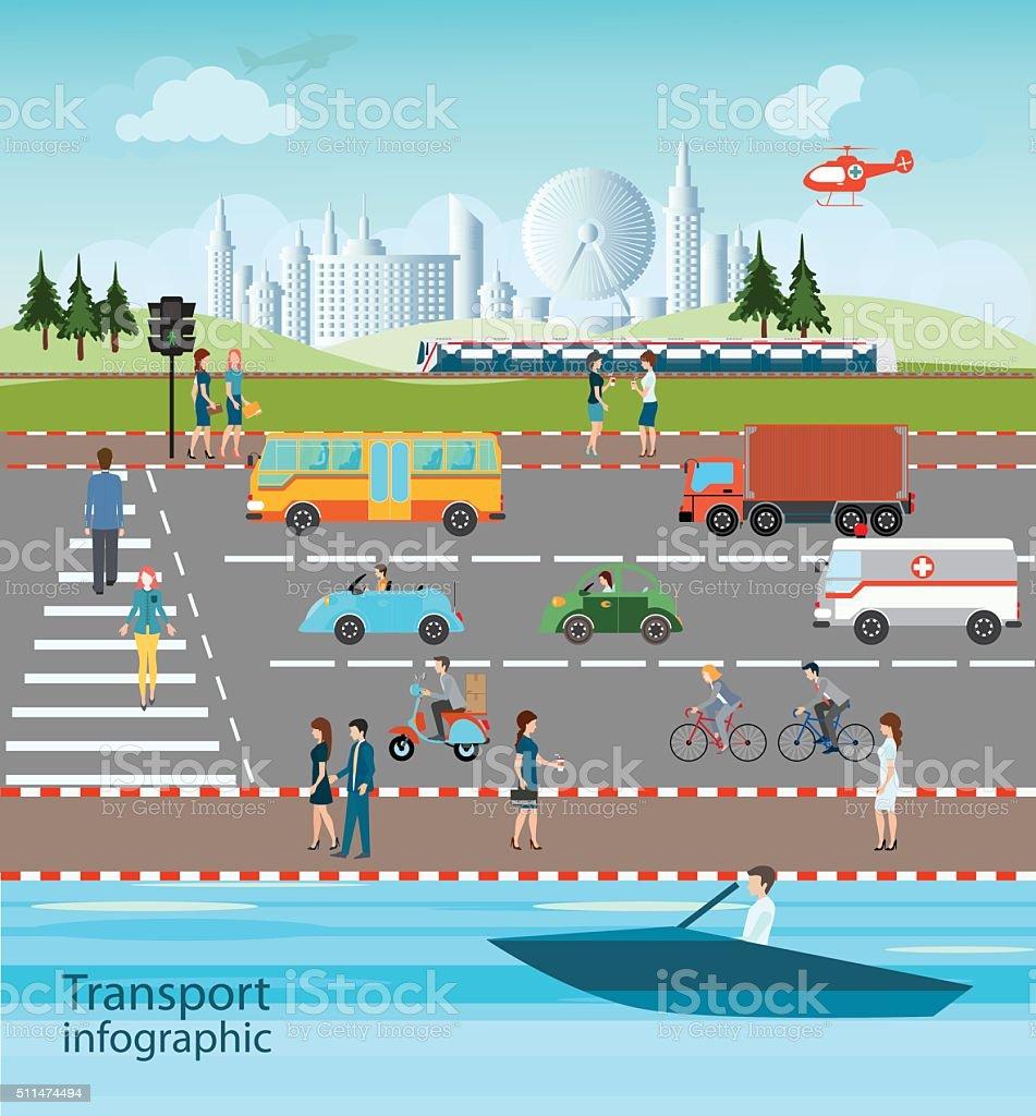 Set of transportation and city traffic. vector art illustration