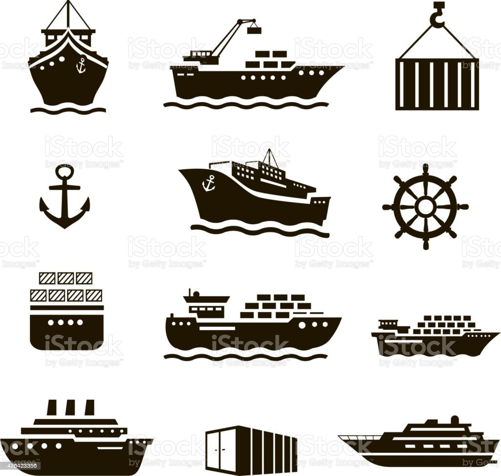 Set of transportation and shipping icons. Container, tanker, cargo vector art illustration