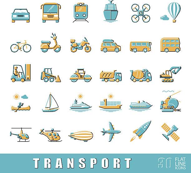 illustrazioni stock, clip art, cartoni animati e icone di tendenza di gruppo di icone di trasporto. - subway