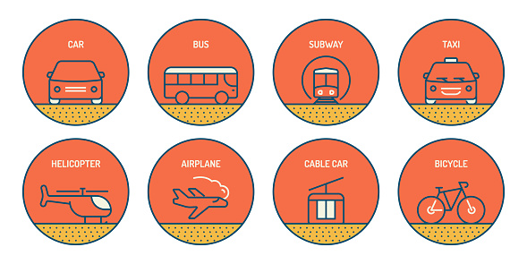 Set of Transportation Related Line Icons. Simple Outline Icons.