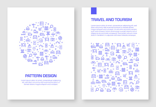 Set of Travel and Tourism Icons Vector Pattern Design for Brochure,Annual Report,Book Cover.
