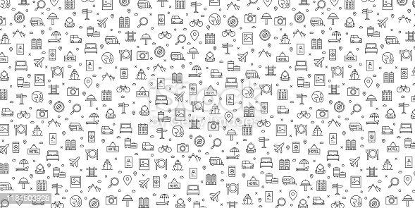 Set of Travel and Tourism Icons Vector Pattern Design