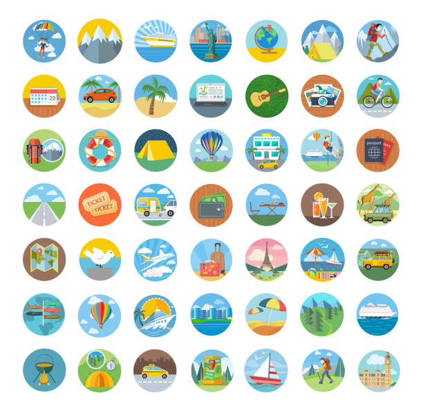 Set of Travel Icon Flat Design vector art illustration
