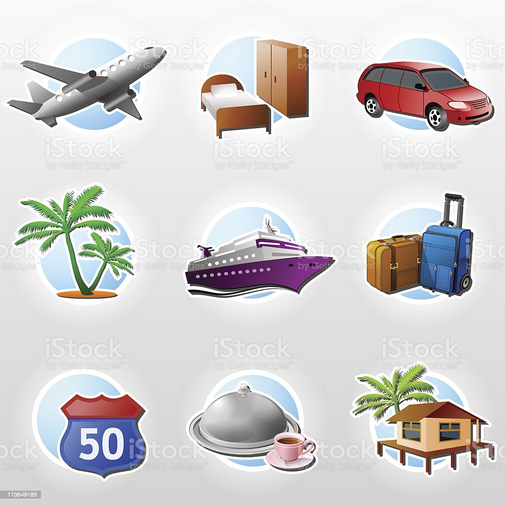 Set of travel icons royalty-free stock vector art