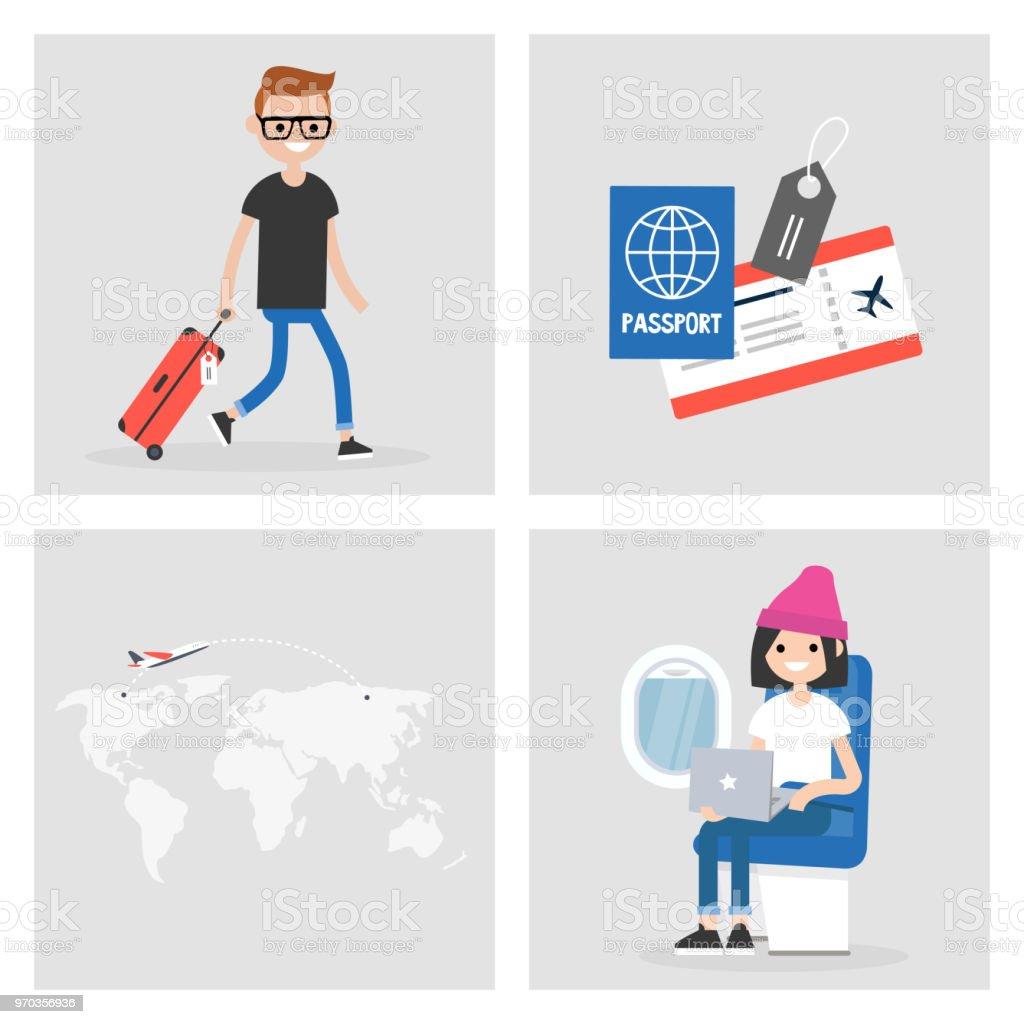 旅行の画像のセットです空港および機内の乗客フライト搭乗券とパスポート