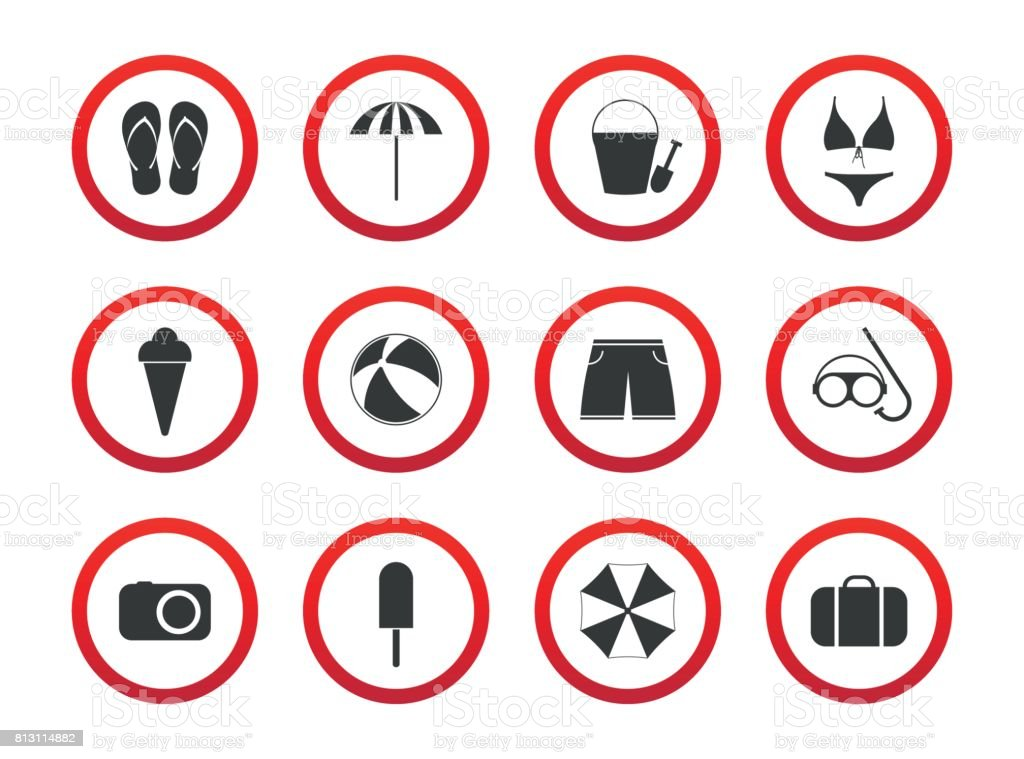Set Of Travel Prohibition Icons Beach Restriction Signs Icon Set For