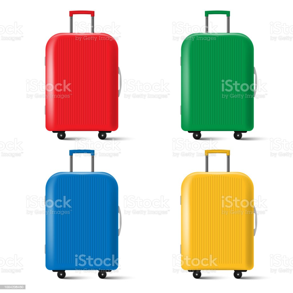 Set of travel suitcase with wheels isolated on white background. Vector illustration. royalty-free set of travel suitcase with wheels isolated on white background vector illustration stock illustration - download image now