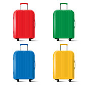 Set of travel suitcase with wheels isolated on white background. Vector illustration. Eps 10.