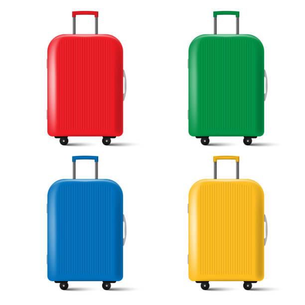 set of travel suitcase with wheels isolated on white background. vector illustration. - luggage stock illustrations
