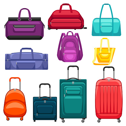 Set of travel suitcases and bags.