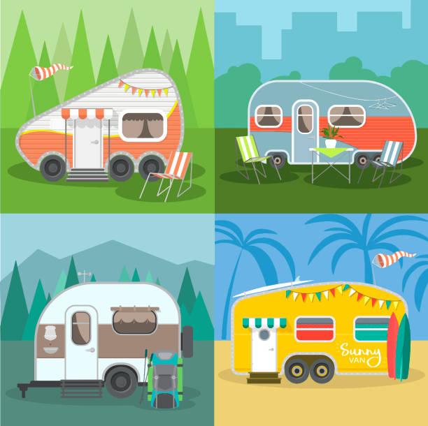 stockillustraties, clipart, cartoons en iconen met set reizen trailer caravans met verschillende landschappen. - caravan