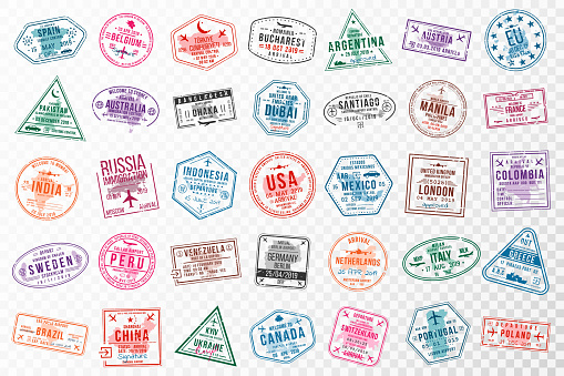 Set of travel visa stamps for passports. Abstract international and immigration office stamps. Arrival and departure visa stamps to Europe, America, Asia and Australia
