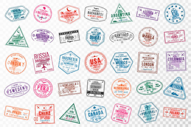 Set of travel visa stamps for passports. Abstract international and immigration office stamps. Arrival and departure visa stamps to Europe, America, Asia and Australia Set of travel visa stamps for passports. Abstract international and immigration office stamps. Arrival and departure visa stamps to Europe, America, Asia and Australia. Vector airport borders stock illustrations