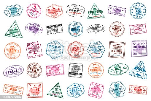 Set of travel visa stamps for passports. International and immigration office stamps. Arrival and departure visa stamps to Europe, America, Asia and Australia. Vector