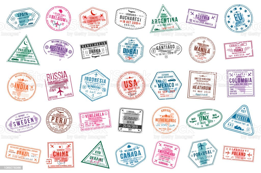 Set of travel visa stamps for passports. International and immigration office stamps. Arrival and departure visa stamps vector art illustration