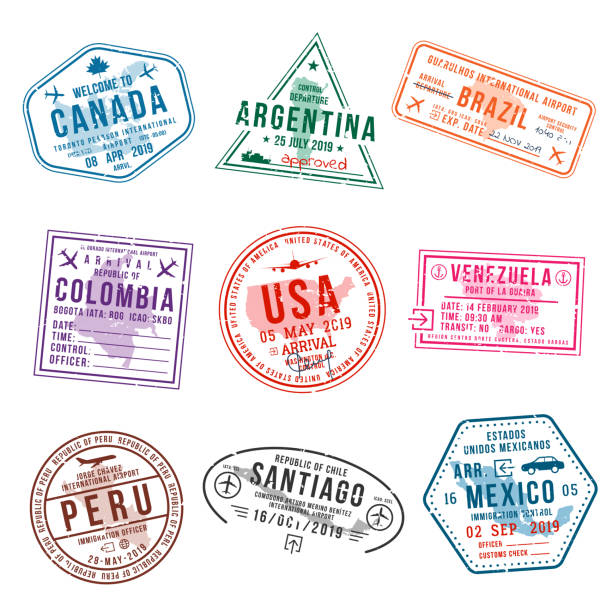 Set of travel visa stamps for passports. International and immigration office stamps. Arrival and departure visa stamps Set of travel visa stamps for passports. International and immigration office stamps. Arrival and departure visa stamps to American countries - USA, Canada, Brazil, Mexico. Vector airport backgrounds stock illustrations