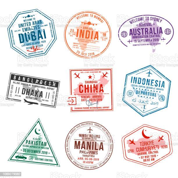Set of travel visa stamps for passports international and immigration vector id1069279382?b=1&k=6&m=1069279382&s=612x612&h=zbwz7edl5yeej3katjb3hqhqayv7y3jldxn4l ud bc=