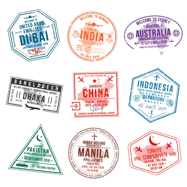 Set of travel visa stamps for passports. International and immigration office stamps. Arrival and departure visa stamps Set of travel visa stamps for passports. International and immigration office stamps. Arrival and departure visa stamps to Asian countries - China, India, Indonesia, Turkey. Vector airport borders stock illustrations