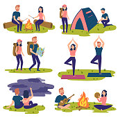 Young couple travel together and doing yoga, hiking, singing sons near bonfire. Man and women with backpacks. Camper people set, tourists traveling, camping and relaxing vector Illustrations