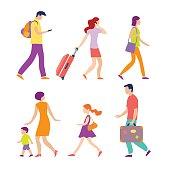 various people going to airport with luggage. Arriving and departing tourists in airport .Portrait of modern family walking together. Colorful vector illustration in flat style isolated on white background