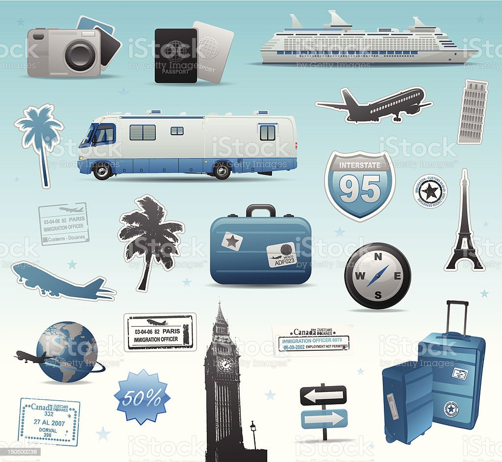 Set of travelling elements icons royalty-free stock vector art