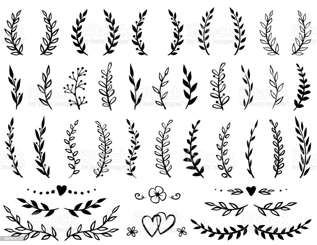 set of tree branches vector art illustration