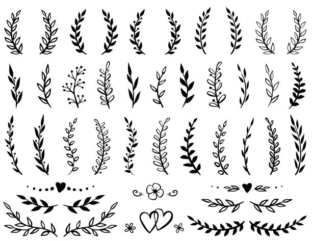 set of tree branches - vine stock illustrations, clip art, cartoons, & icons