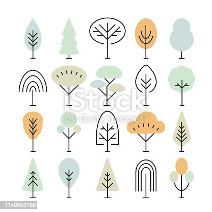 Set of tree icons isolated on white background. Fir, Linden, Maple, Oak, Spruce, Baobab, Cypress, Poplar, Ash Tree. Perfect for web pages, mobile applications, print production