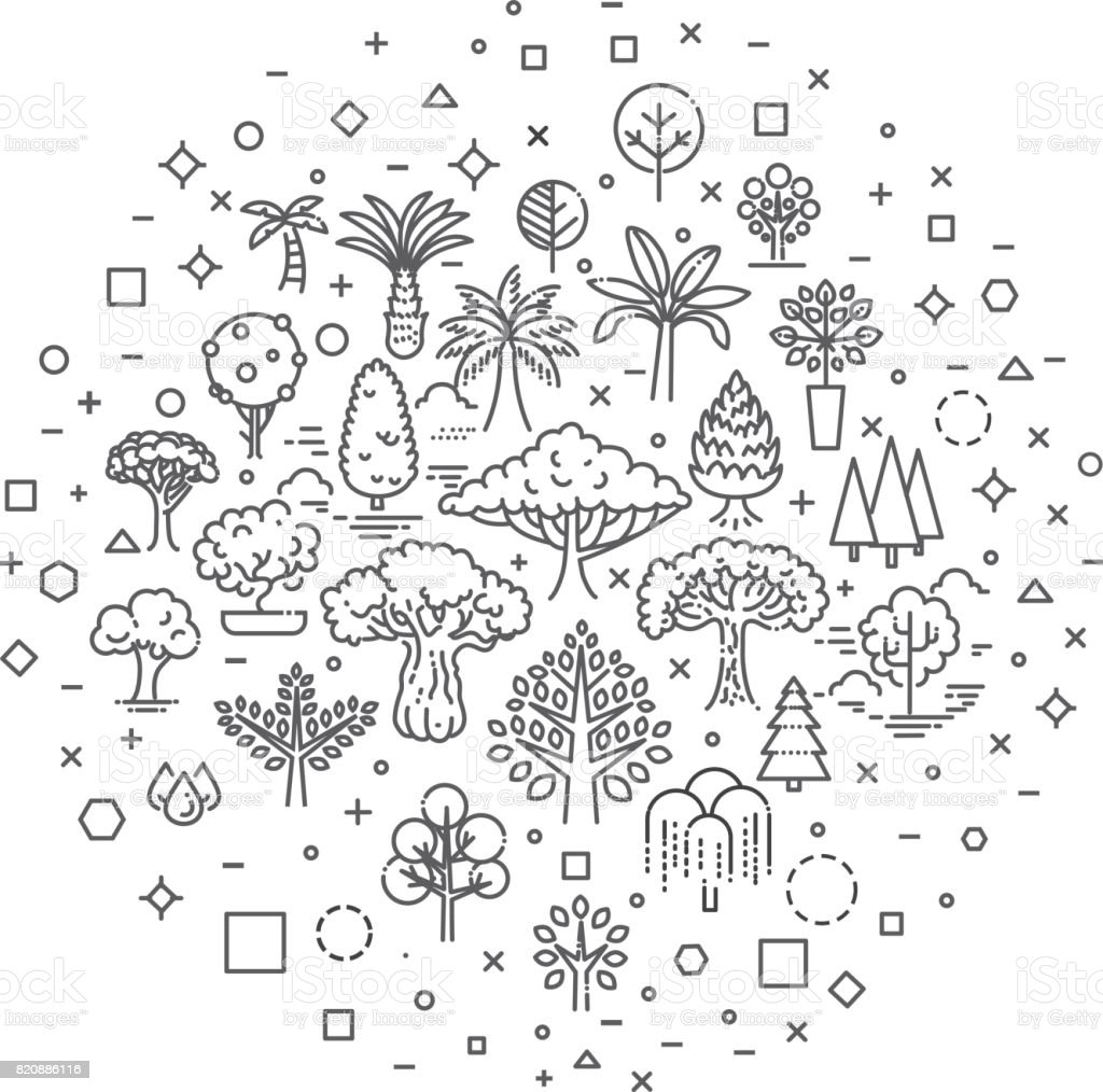 Set of Tree shape Vector Line Icons vector art illustration
