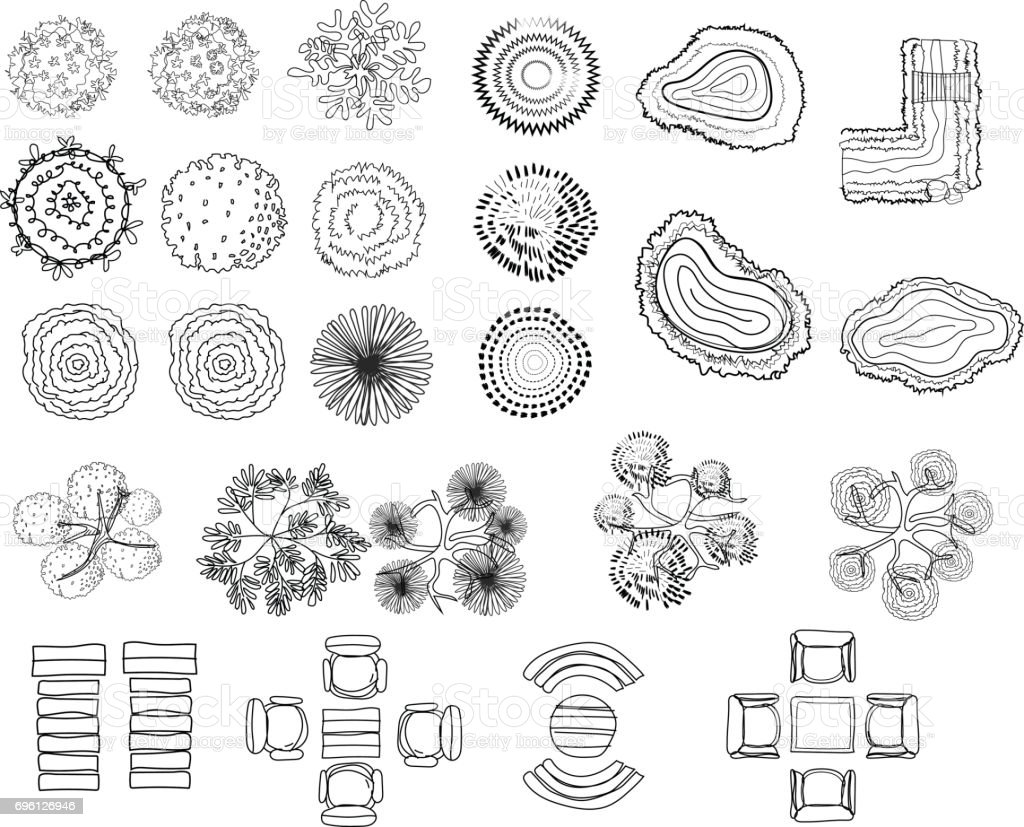 Set of tree top symbols for architectural or landscape design for set of tree top symbols for architectural or landscape design for map line biocorpaavc Choice Image