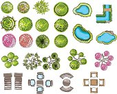 set of tree top symbols, for architectural or landscape design, for map, water color style.vector illustration