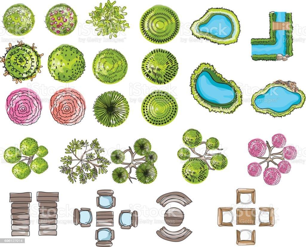 set of tree top symbols, for architectural or landscape design, for map, water color style.vector illustration vector art illustration