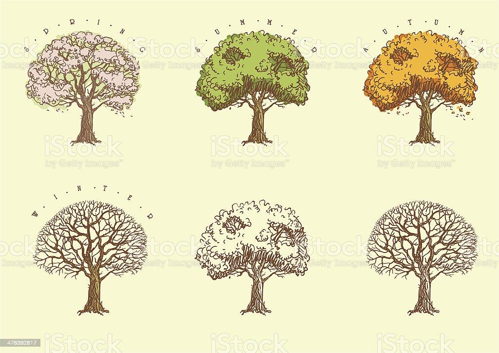 Satz Von Bäumen Im Gravur Stock Vektor Art und mehr Bilder von ...