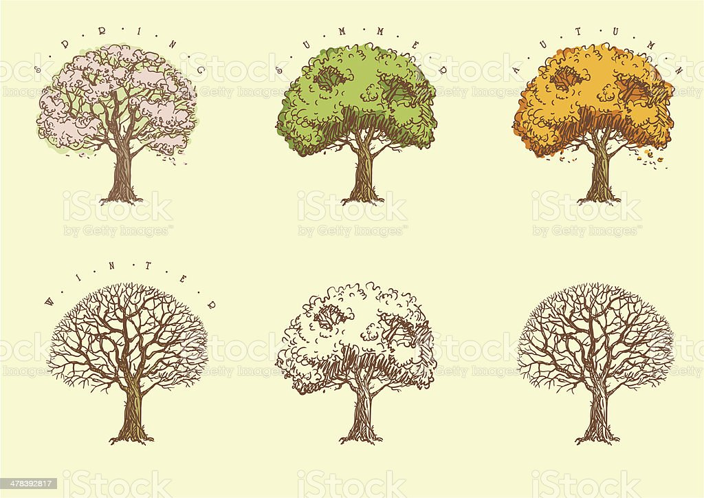 Set of trees at engraving style. vector art illustration
