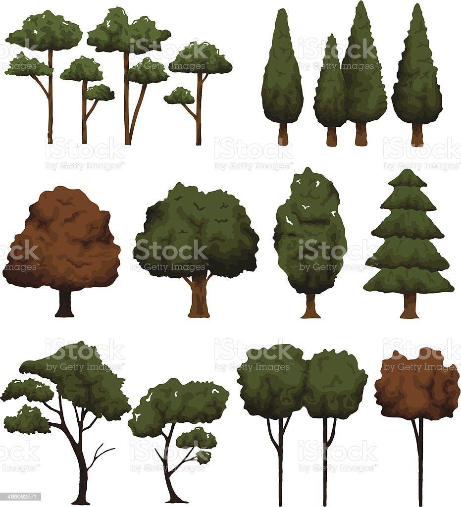 Set of trees for landscape on white background vector illustration royalty-free stock vector art