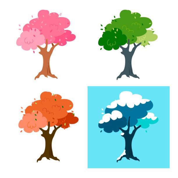 zestaw drzew w czterech porach roku. apple i sezon. - four seasons stock illustrations
