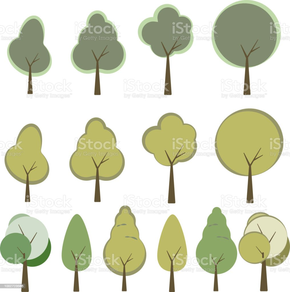 Set of trees in trendy flat style. Green foliage forest elements for...