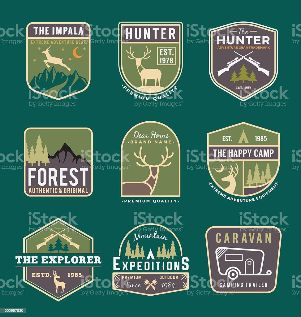Set of trekking and adventure gears vector art illustration