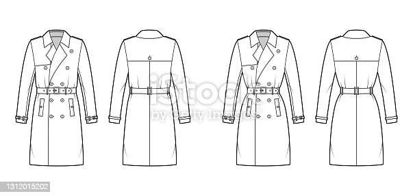 istock Set of Trench coats technical fashion illustration with belt, double breasted, napoleon wide lapel collar, storm flap 1312015202