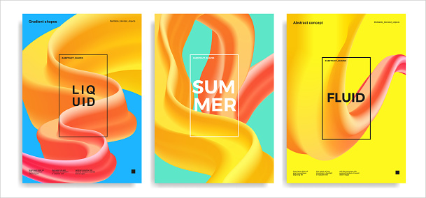 Set of trendy abstract design templates with 3d flow shapes. Dynamic bright gradient composition. Applicable for covers, posters, brochures, flyers, presentations, banners. Vector illustration. Eps10